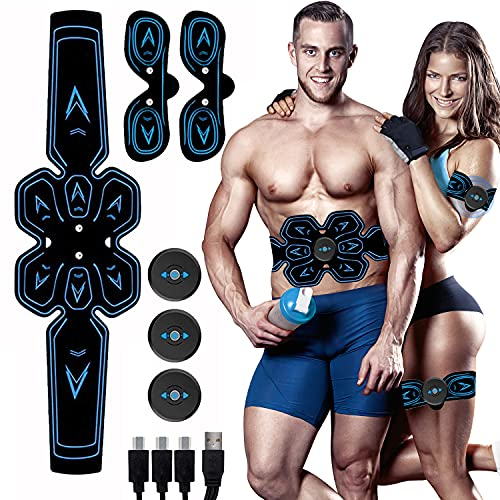 Electrostimulateur Musculaire, Ceinture Abdominale Electrostimulation, EMS Stimulateur Musculaire, 6 Modes 9 Niveaux pour Stimulateur Musculaire Femme Homme Entraînement Abdominal Rechargeable
