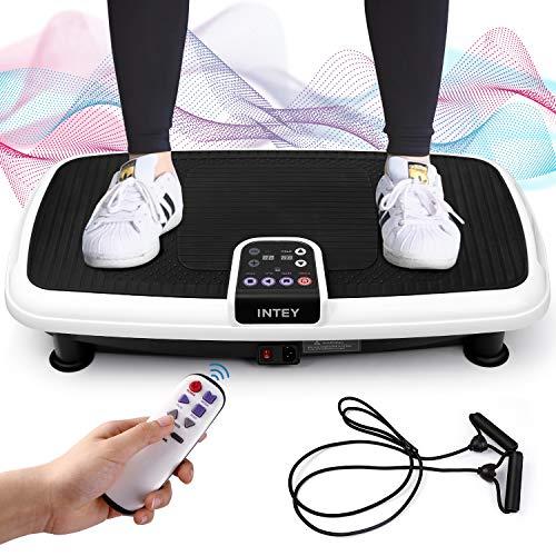 INTEY Plateforme Vibrante Oscillante pour Fitness, 6 en 1 Multifonctions | Silencieux | Antidérapant, 2 Bandes Elastiques/3 Zones de Vibration/20 Niveaux de Vitesse, Contrôlé par Ecran/Télécommande