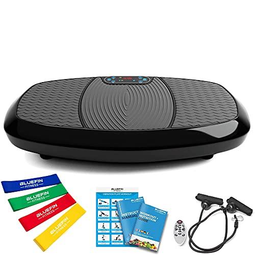 Bluefin Fitness Plateforme Vibrante & Oscillante à Doubles Moteurs 3D   Oscillation, Vibration + Mouvement 3D   Grande Surface Anti-Dérapante   Haut-parleurs Bluetooth   Design Anglais (Noir)