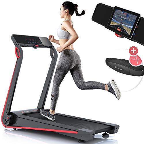Sportstech F17 Tapis de Course Electrique Pliable Professionnel, Console futuriste, 2.5PS, 12 KM/H, système de Lubrification, Ceinture Cardio (Valeur 39,90 €) Incluse