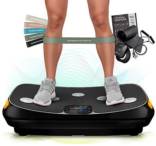 Sportstech VP400 Plateforme Vibrante Oscillante Professionnelle Fitness avec Technologie de Vibration 4D, fréquence jusqu'à 40Hz, Design courbé, 2 puissants Moteurs + télécommande + écran Tactile