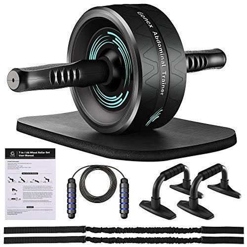 Gonex Roue Abdominale AB Wheel Roller Pro de Fitness et Musculation de Corp, Appareil d'entrainement 7 en 1 avec Tapis Epais pour Genoux, Barres de Push-up, Bandes de Résistance, Sauter à La Corde