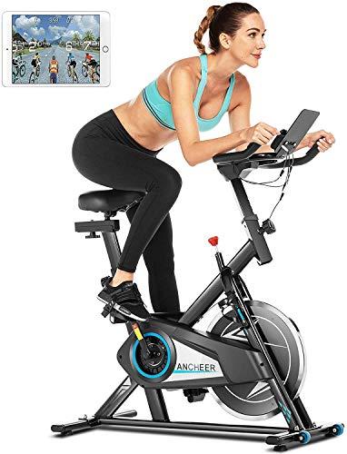 ANCHEER Vélo de Fitness Vélo d'appartement Siège réglable, Support de la Tablette, avec Affichage LCD et Contrôle APP/Volant Silencieux Charge maximale:140kg (Noir)