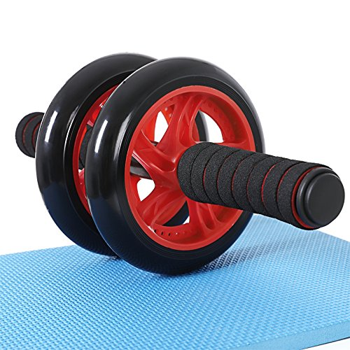 SONGMICS Roues Abdominales, AB Wheel, Antiglisse, Musculation, Entraînement Fitness, Rouge SPU75R