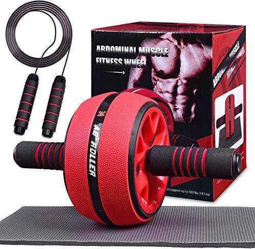 AB Roller abdominal trainer avec corde à sauter, équipement de fitness 2 en 1, appareils portables à rouleaux abdominaux pour l'entraînement à domicile, aide à l'entraînement musculaire