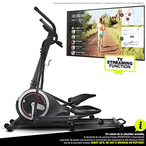 Sportstech Vélo elliptique d'Appartement CX640 Compatible Application Smartphone avec Video Events & Multiplayer APP, Volant d'inertie 24 KG, 26 programmes d'entraînement avec Fonction HRC (FR)