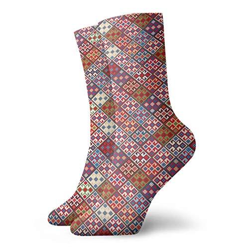 Chaussettes mi-mollet douces - Plusieurs motifs carrés inclinés - Tapis ethnique nomadique - Sans couture - Pour homme et femme - Idéales pour la course à pied.