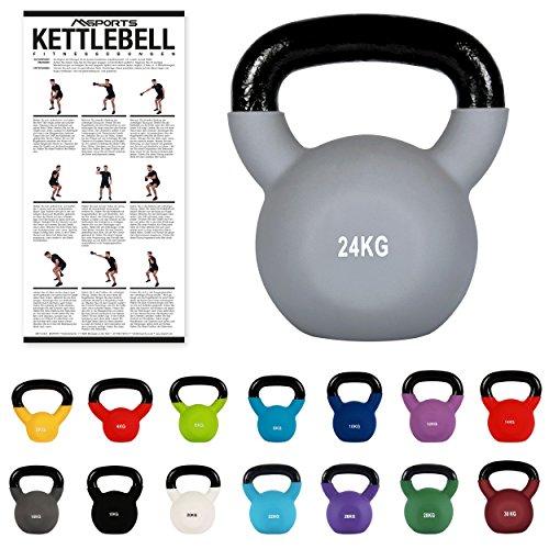 Klettlebell professionnelle en néoprène 2, 30kg, poster d'entraînement inclus (français non garanti), 24 kg - Grau