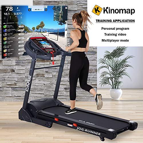 CARE FITNESS - Tapis de Course Connecté Jog Runner - Tapis de Marche Électrique Inclinable et Pliable - 18 Niveaux d'Inclinaison - 25 Programmes d'Entraînement - Compatible Application Kinomap