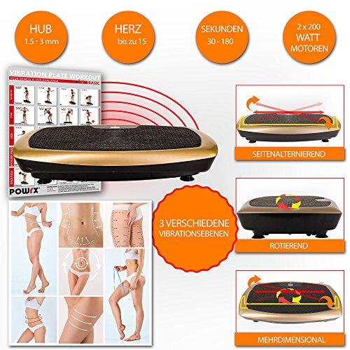 POWRX Basic Duo B Plateforme vibrante avec Workout, télécommande + Tubes I Grande surface pour tout entraînement